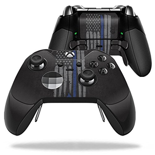 MightySkins Skin Compatible with Microsoft Xbox One Elite Controller - Thin Blue Line K9 | Protective, Durable, and Unique Vinyl wrap Cover | Easy to Apply, Remove | Made in The USA