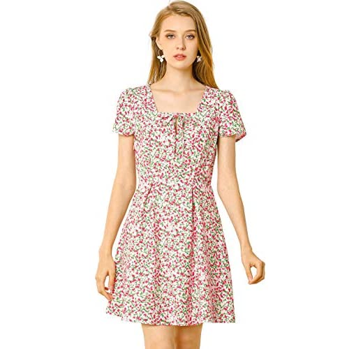 Allegra K Women's Star Heart Floral Print Casual Square Neck Short Sleeve Flare Dress