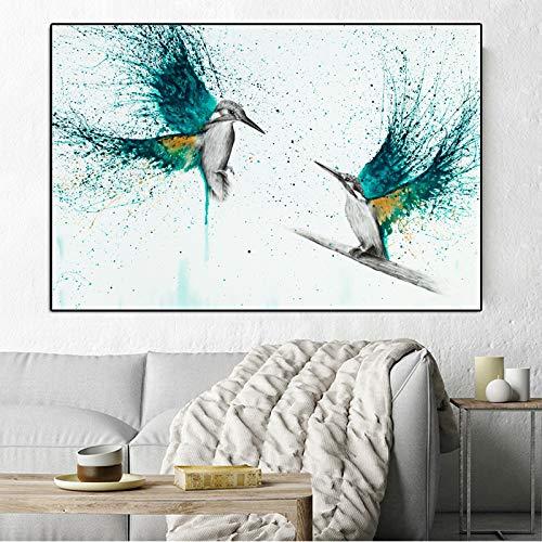 N / A Hermoso pájaro Colorido Lienzo Pintura Acuarela póster Imprimir imágenes para Estilo Simple Sala de Estar decoración de la Pared del hogar Sin Marco 60x80 cm