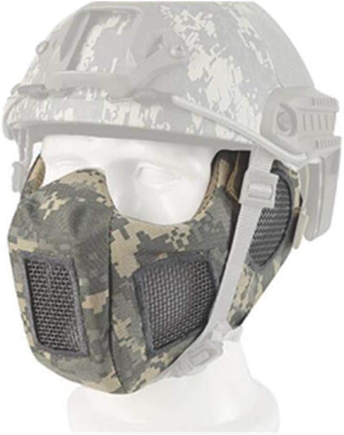 SGOYH Máscara táctica de Media Cara Inferior Malla Airsoft Paintball Máscara de Acero con protección para la Oreja para BB Gun Hunting CS Game