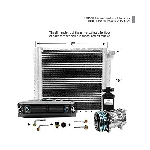 CLIMAPARTS AC Kit Universal Evaporator Underdash Unit Compressor and Condenser 18 x 16