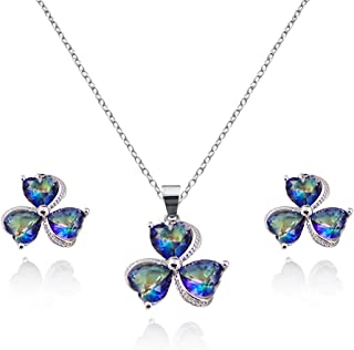 Amvie Heart Crystal Lucky 3 Leaf Clover Jewelry Sets for Women Girls Cubic Zirconia Diamond Necklaces Stud Earrings Sets W...