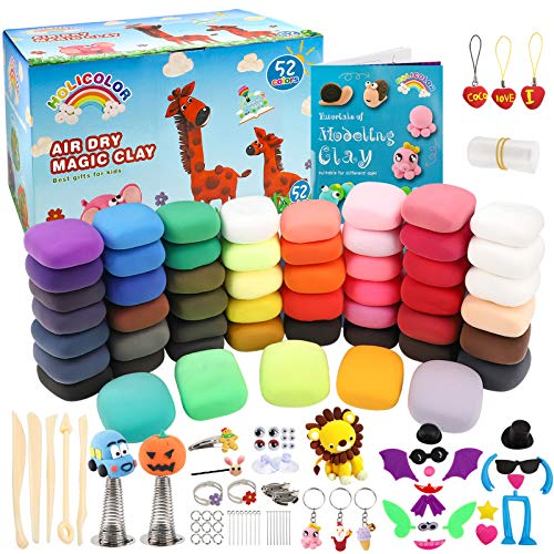 HOLICOLOR 52 Colors Air Dry Clay Magic Clay for Kids Modeling Clay Kit for Kids Arts and Crafts Kit with Tools Best Gift for Girls and Boys 3-12 Year Old