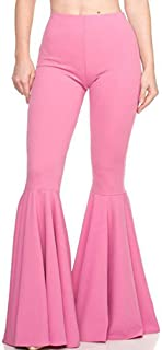 GUOLEZEEV Women High Waisted Flare Pants Solid Color Fashion Pleated Bell Bottoms(7 Colors)