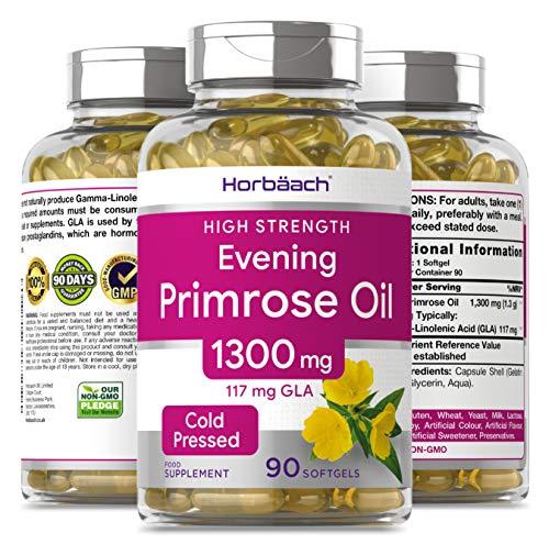 Evening Primrose Oil 1300mg   90 Capsules   Rich Source of Omega 6   117mg GLA   Non-GMO, Gluten Free Supplement