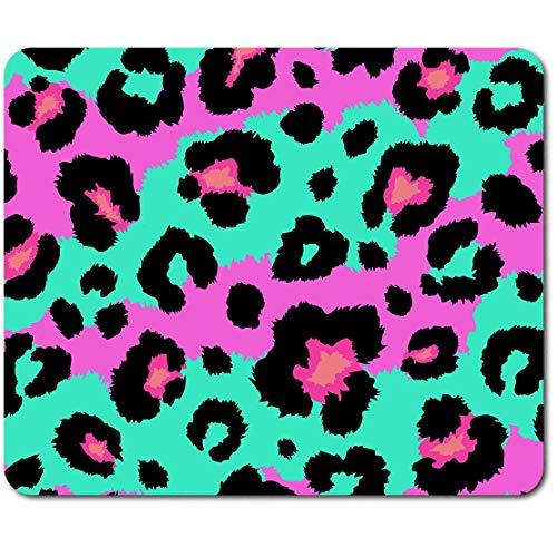 Rechteckiges Mauspad – Rosa Grün Tierdruck Muster 23,5 x 19,6 cm (9,3 x 7,7 Zoll) für Computer & Laptop, Büro, rutschfeste Unterseite #46070