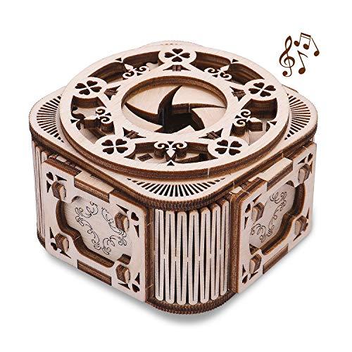 GuDoQi Mini Musikbox, Mechanischer Holzbausatz zu Bauen, 3D Holz Puzzle, DIY Montage Holzpuzzle Spielzeug, Bastelset, Geburtstags Geschenk aus Holz fur Erwachsene und Jugendliche