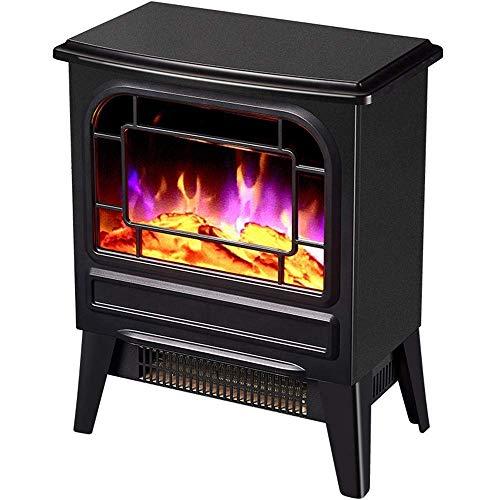 Calefactor Sistema eléctrico calentador de chimenea Llama efecto de desconexión de seguridad con efecto realista llama del fuego eléctrico 2 ajustes de calor 1000 fuego 2000Wblackelectric, Color: Negr