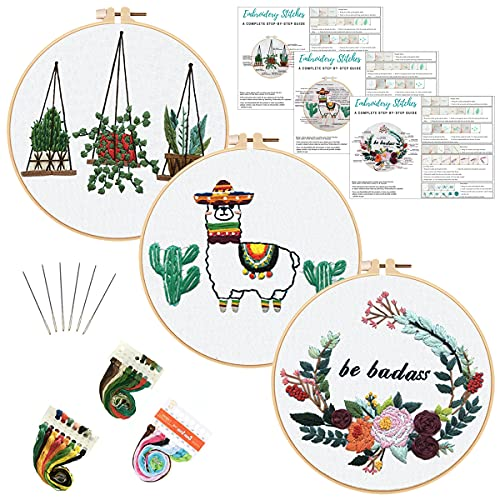 Louise Maelys Embroidery Kit for Beginners with 3 Embroidery Hoops Animal Flowers Plant Pattern Cross Stitch Needlepoint Kit Funny Starter Kit for Decor