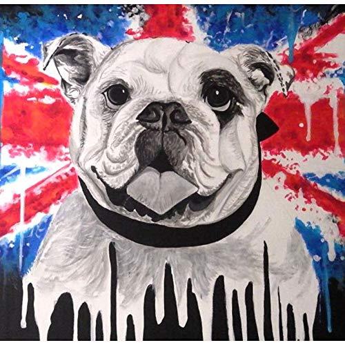 Lazodaer Kits de pintura de diamante 5D para adultos, niños, decoración de la habitación, hogar, oficina, regalo para manualidades de arte perro con bandera 30 x 30 cm