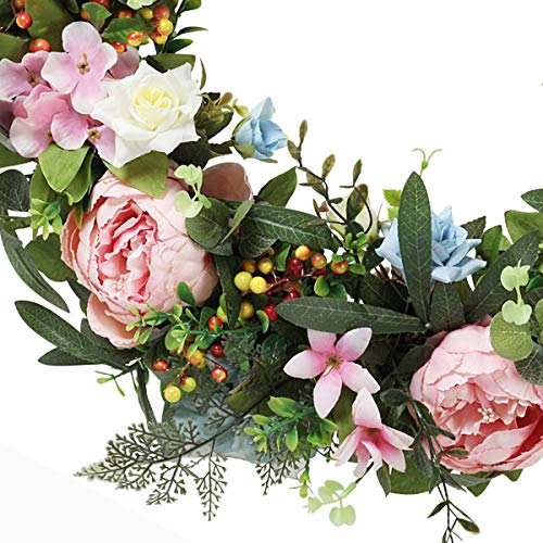 Wreath for front door for all seasons w/ hanging hook – Ideal for Indoor Decoration– 22 Inch Diameter -packed in a storage box. Great Housewarming Gift!