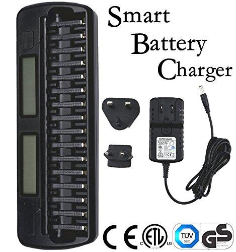 PowTech 1-16 Slot Smart Akku ladegerät für NiMH/NiCd AA und AAA zum Laden und Entladen, mit LCD Display für individuellen Lade- und Entladezustand, Sicherheitszertifikat: CE, GB, GS, UL.