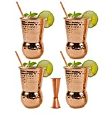 EXTRA THICK HEFTY - set of 4 - Bonus a Jigger and 4 Straws | 20 Gauge Moscow Mule Copper Mugs by Eximius Power | 100% Pure Food Safe Copper Drinking Cups |16 oz Hammered Design Handcrafted Tumblers