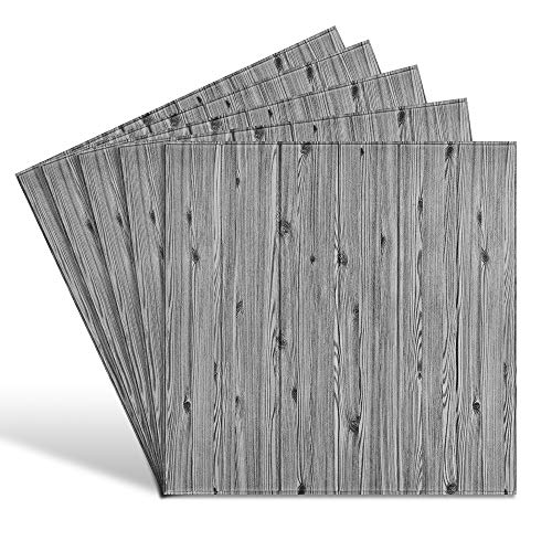 Cosaving 3D Wall Panels Peel and Stick 5 Pack, Wall Panels for Interior Wall Decor, Self-Adhesive Foam Wall Tiles Wood for TV Background Walls Bedroom, 5 Pack - 5.3 Sq.Ft, Grey Wood