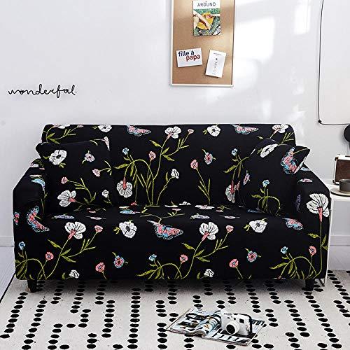 Funda Elástica de Sofá Cubre Antideslizante/Protector Ajustables de Sofá, Decorativas Fundas Flor Negra Impresa -para Sofas, con Cuerda de Fijación (2 Plazas:135-170cm)+1 Fundas de Almohada