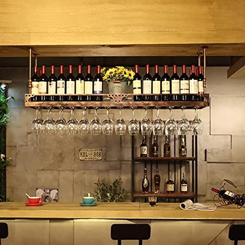 Bedspread European Wrought Iron Hanging Wine Rack Goblet Shelf Bar Home Wine Glass Rack Upside Down Display Stand Wine Racks (Color : Black, Size : 100 * 35cm)