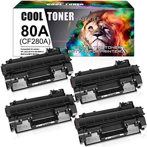 Cool Toner Compatible Toner Cartridge Replacement for HP 80A CF280A 80X CF280X HP Laserjet Pro 400 M401n MFP M425dn M401dne M401dn M401dw M425dw Laserjet Pro 400 Toner M401 M425 Ink (Black, 4-Pack)