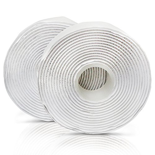 XFasten Adhesive Hook and Loop, White, 1-Inch x 10-Foot Sticky Back Double-Sided Hook Loop Tape for Textile, Tools, Gardening Beds