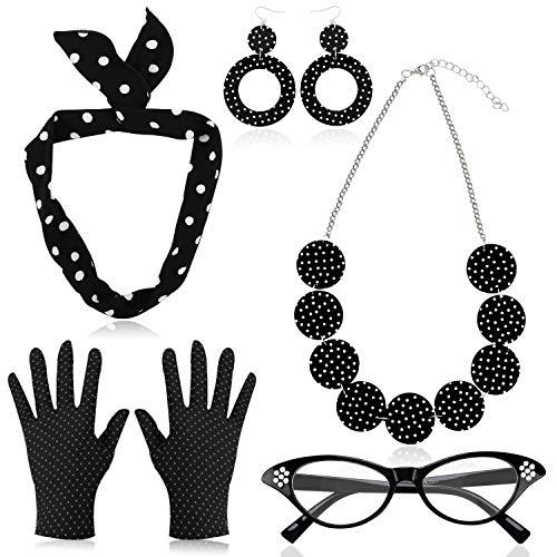 HOWAF 50er Jahre Rockabilly Kostüm Accessoires Damen 1950s Zubehör Set Inklusive Polka Dots Bandana Haarband Ohrringe Halskette Handschuhe Katzenaugen Brille, Schwarz