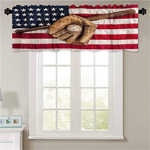YUAZHOQI Cortina de filtrado de luz Vintage Equipo de béisbol sobre bandera americana 1 panel 132 x 45 cm cortina opaca cenefas para ventana pequeña