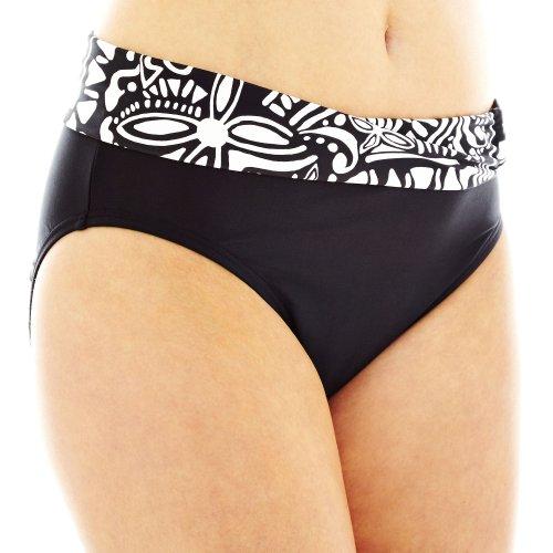 Maidenform Swim Bottom Globe Trotter Black/White XL Shirred-Sash Hipster