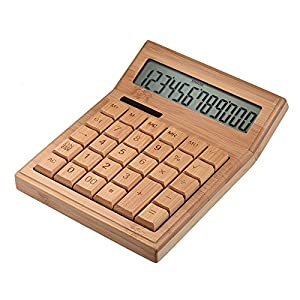 Aibecy 多機能 竹製電卓 12桁 ソーラー 電子計算機 エコ竹製 ホーム オフィス学校 小売店など適用