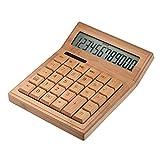 Aibecy multifuncional científicas calculadora electrónica de bambú Counter 12 dígitos Solar y...