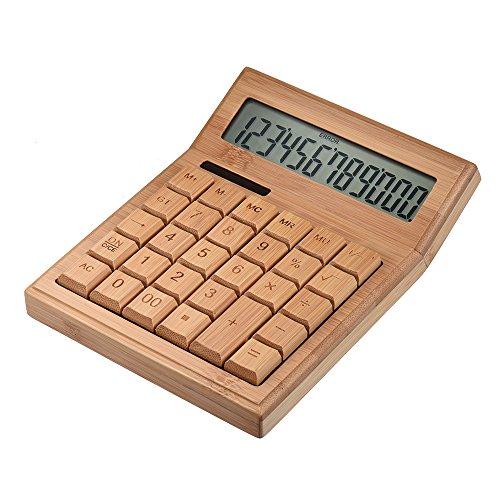Aibecy rekenmachine op zonne-energie van bamboe, standaardfunctie, 12 cijfers, dubbele stroomvoorziening op zonne-energie, accu 13,5 x 17,5 cm