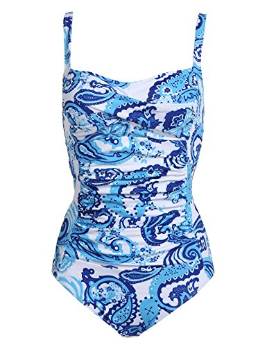 Ekouaer Swimming Bathing Wear Ladies One Piece Swimwear Ruched Halter Retro Miracle Swimsuits(Blue Pattern,Large)