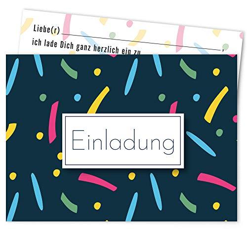 Postkartenschmiede Moderne Einladungskarten Kindergeburtstag Mädchen Junge (10er-Set) - Einladung Geburtstag Kinder - Geburtstagseinladungen - blau