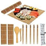 Herramienta de sushi, tapete de sushi, kit de preparación de sushi, 13 piezas/set de bambú, kit de fabricación de sushi, oficina familiar, fiesta, artilugio de sushi casero para amantes de la comida