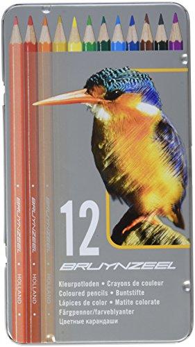 Bruynzeel -   12 Buntstifte in Metalletui mit schönem Eisvogelaufdruck