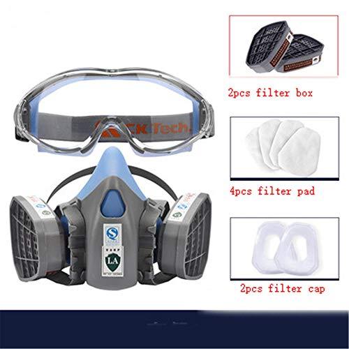 Preisvergleich Produktbild TQY Schädliche Gasmaske Atemschutzmasken Schutzmaske Formaldehyd Industriechemikalie Gasfilter Mund Und Nase N95 Dämmerungsmaske Schutzbrille, Mask Goggle Set