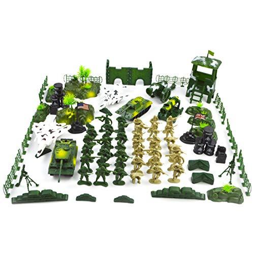 DUS 90 Pièces Figurine Soldat Plastique Jouets Soldats Enfants Troupes Militaires Figurines Militaire Enfant Jouet