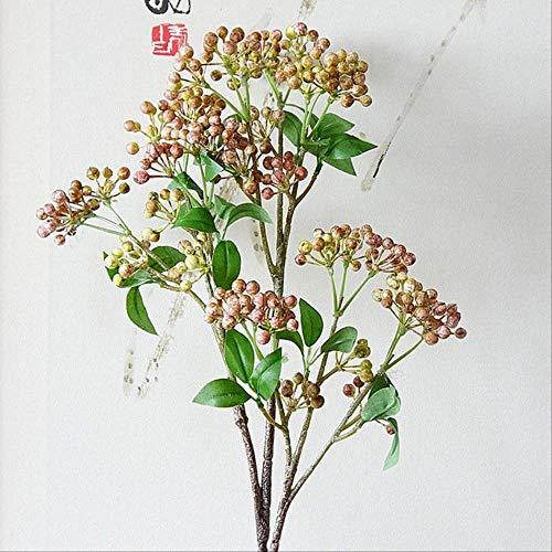 XFLOWR Berry Fruit Brank Kunstmatige bessen met bladeren voor tuin DIY Decoratie Kunstbloemen Planten Bloemen Artificiales roze