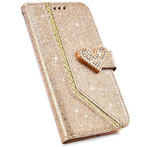Urhause Compatible con Funda Samsung Galaxy J3 2017 Carcasa 3D Diamante Brillante Glitter Billetera Cuero PU Cover Case Bumper Libro Folio Flip Soporte Plegable Protectora Cartera Magnético Caso,Oro