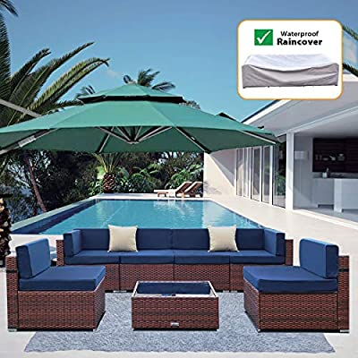 MAXXPRIME 7 Pieces Outdoor Sectional Patio Furniture Set, PE Rattan Wicker Sofa Chair Set with Nylon Waterproof Cover, Washable Seat Cushions and 2 Pack Throw Pillows with YKK Zippers, Blue