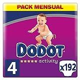 Dodot Pañales Bebé Activity Talla 4 (9-14 kg), 192 Pañales con Ajuste Más Resistente