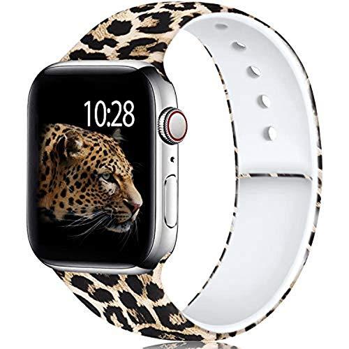ZHANGDA Correa de silicona para Apple Watch de 38 mm, 40 mm, 42 mm, 44 mm, bandas estampadas sin decoloración para correa de reloj serie 5/4/3/2, leopardo, 38 mm o 40 mm, talla S