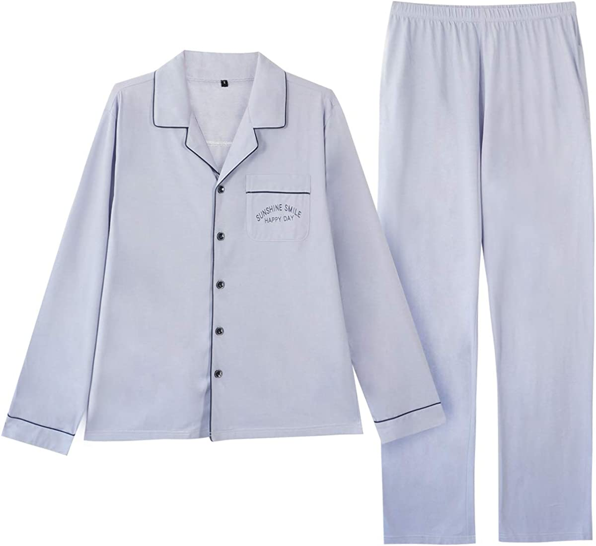GOSO Mens Pajamas Set Cotton Sleepwear Button-Down Pajamas Set Lightweight Long Sleeve Pjs Set Lounge Sleepwear