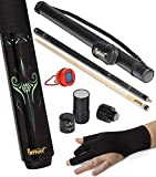 IgnatGames 2-Pieces Pool Cue Stick - 58' Canadian Maple Professional Billiard Pool Cues Sticks with Hard Case, 3 in 1 Pool Stick Tip Tool, 3 Finger Glove and Chalk Holder (20 oz. Green)