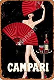 No/Brand Campari Red Paper Fan Metall Blechschild Retro