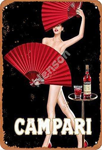 No/Brand Campari Red Paper Fan Metall Blechschild Retro Metall gemalt Kunst Poster Dekoration Plaque Warnung Bar Garage Party Hauptdekoration