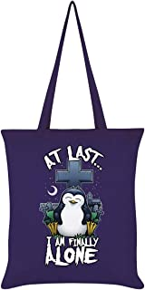 Psycho Penguin I Am Finally Alone Tote Bag Purple 38x42cm