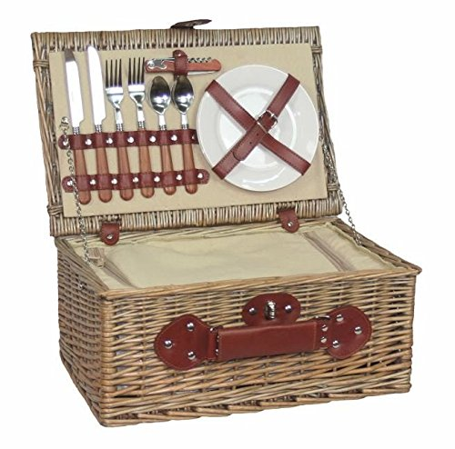 Antique Wash Willow Picnic Hamper / Basket, 2 Person Fitted