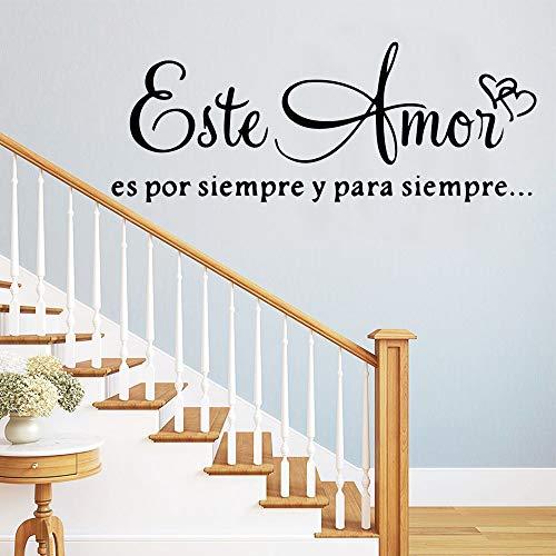 LSMYM Citas creativas en español Pegatinas de pared Papel pintado de arte autoadhesivo Calcomanías de pared de PVC Decoración de cuarto de niños Púrpura L 43cm X 114cm