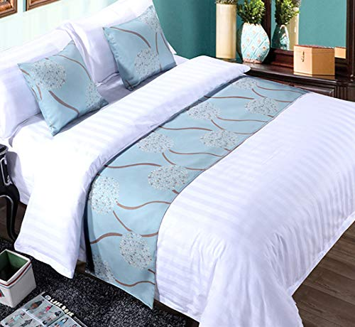 Mengersi Rippling Bed Runner Scarf Protector Slipcover Bed Decorative Scarf for Bedroom Hotel Wedding Room (Full/Queen, Blue)