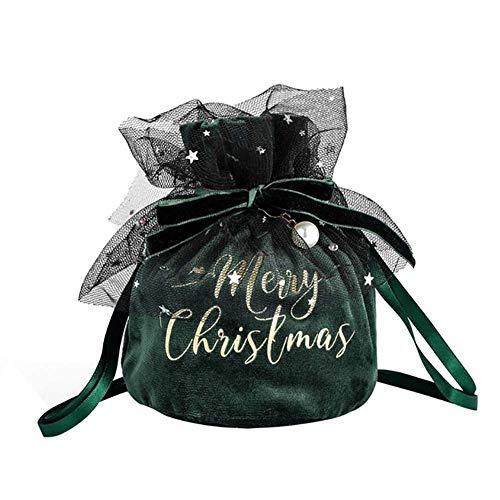 Sacchetto Regalo Natale Piccolo, Sacchetti Gioielli Natalizi con Coulisse in Velluto Pizzo Sacchetti Caramelle Natalizie Lusso Sua Moglie Bambini Donne