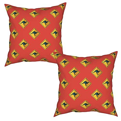 Pack de 2 Fundas de Almohada,Cruce de Canguro Australia,Funda de Cojín Cuadrado de Protectora de Almohada para Sofá Cama Decoración del Hogar (50x50cm) x2