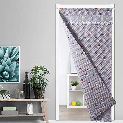 SLM-max Starke warme Baumwolle Vorhang, Haushalt Windsicher Partition Vorhang, können beide Seiten Gebraucht-Herbst und Winter-Eindickung-Gray,140×230cm